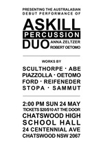 Askill Percussion Duo : Australasian debut performance