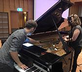 Dan Thorpe and Leah Blankendaal rehearsing Cat Hope's <em>Fourth Estate</em>