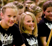 Young participants at the Moorambilla Festival in Coonamble, NSW, which attracts community choirs from across the state