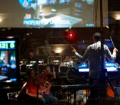 Tim Davies conducting in the studio