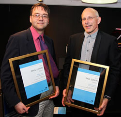 Lowin Prize winners Elliott Gyger and Nigel Westlake with their certificates.