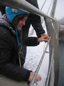 Jodi Rose recording Bizovik Bridge, Ljubljana