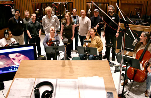 Curtis with scoring team at Capitol Studios, recording the music for To Rest in Peace