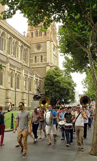 Jazz flashmob in Melbourne in support of the Melbourne Jazz Co-operative.