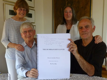 Don Kay and John Honey holding the first copy of the printed opera score, with opera's dedicatees Frances Kay and Maria Honey at the back.