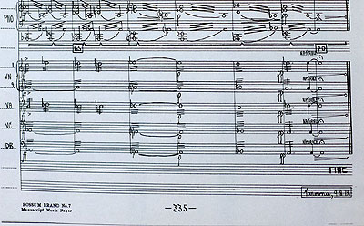 The last page - no. 335 - of Don Kays opera score.
