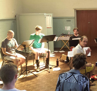 Singers of the Song Company and Roland Peelman at MODART rehearsal