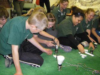 White Cliffs School students with Dale Gorfinkel's sonic sculptures