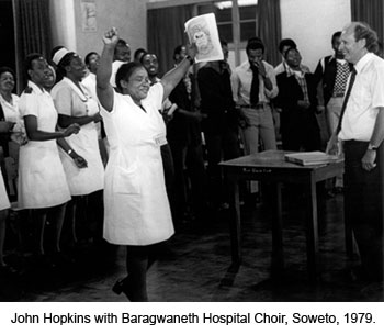 Hopkins with a hospital choir in Soweto, South Africa, in 1979.