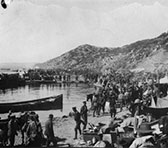 Troops at Anzac Cove after landing