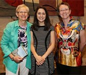 Peggy Polias (center) with Professor Anne Boyd (left) and Dean & Acting Principal Anna Reid