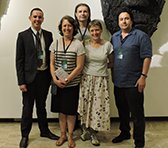 From the front left: Tyler Smyth, Maria Grenfell, Eve Duncan, Andrián Pertout; Scott McIntyre (back row).