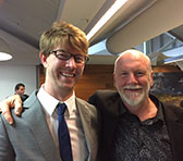 Lachlan Skipworth and Brett Dean at the Lowin Prize announcement on 6 December