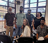 Program leader and mentor Chris Sainsbury with current program participants Marcus Corowa, James Henry, Nardi Simpson, Sonya Holowell and Eric Avery.