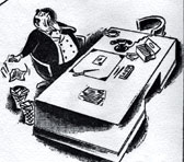 A cartoon of the Federal Director of Music drawn in honour of William James's retirement from the ABC