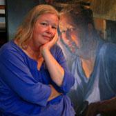 Belinda Webster in front of her portrait, painted by Myriam Kin-Yee