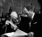 John Hopkins with Stravinsky, studying the score, Wellington, 1961