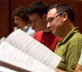 Brisbane Chamber Choir singers at a recording session in 2006