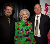 Iain Grandage (left) and Gordon Kerry with Lady Primrose Potter AC, Life Governor of the Ian Potter Foundation