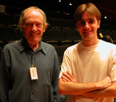 Richard Meale at AYO's National Music Camp 2005 with composition student Cyrus Meurant