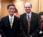 Kawamura Taizan (shakuhachi performer) with Bruce Crossman