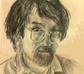 A self portrait in charcoal by Ian Cugley