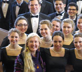 Sarah Hopkins with members of the Montclair State University Singers