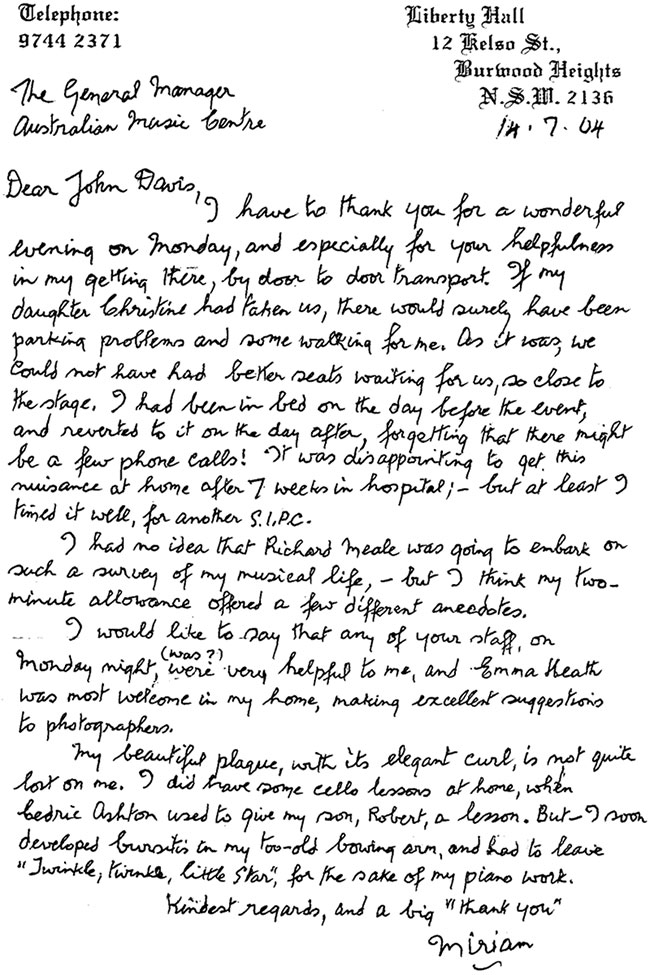 Miriam Hyde's thank you letter to the AMC